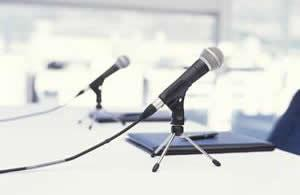 Microphones on a table